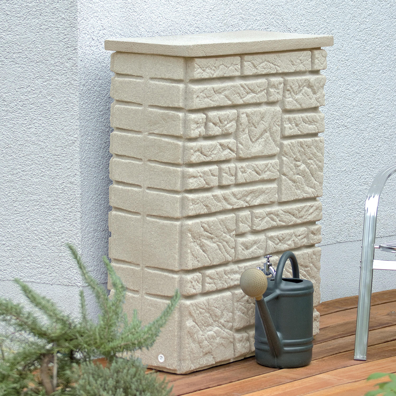 regentonne eckig wandtank maurano 300l sandstein. Black Bedroom Furniture Sets. Home Design Ideas