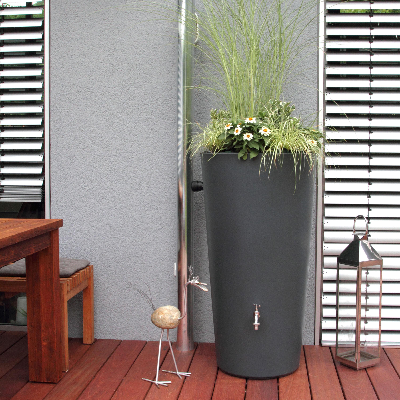 regentonne anthrazit modell rainbowl flower 150 l. Black Bedroom Furniture Sets. Home Design Ideas